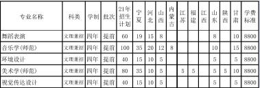 宁夏大学2021年艺术类本科专业招生计划