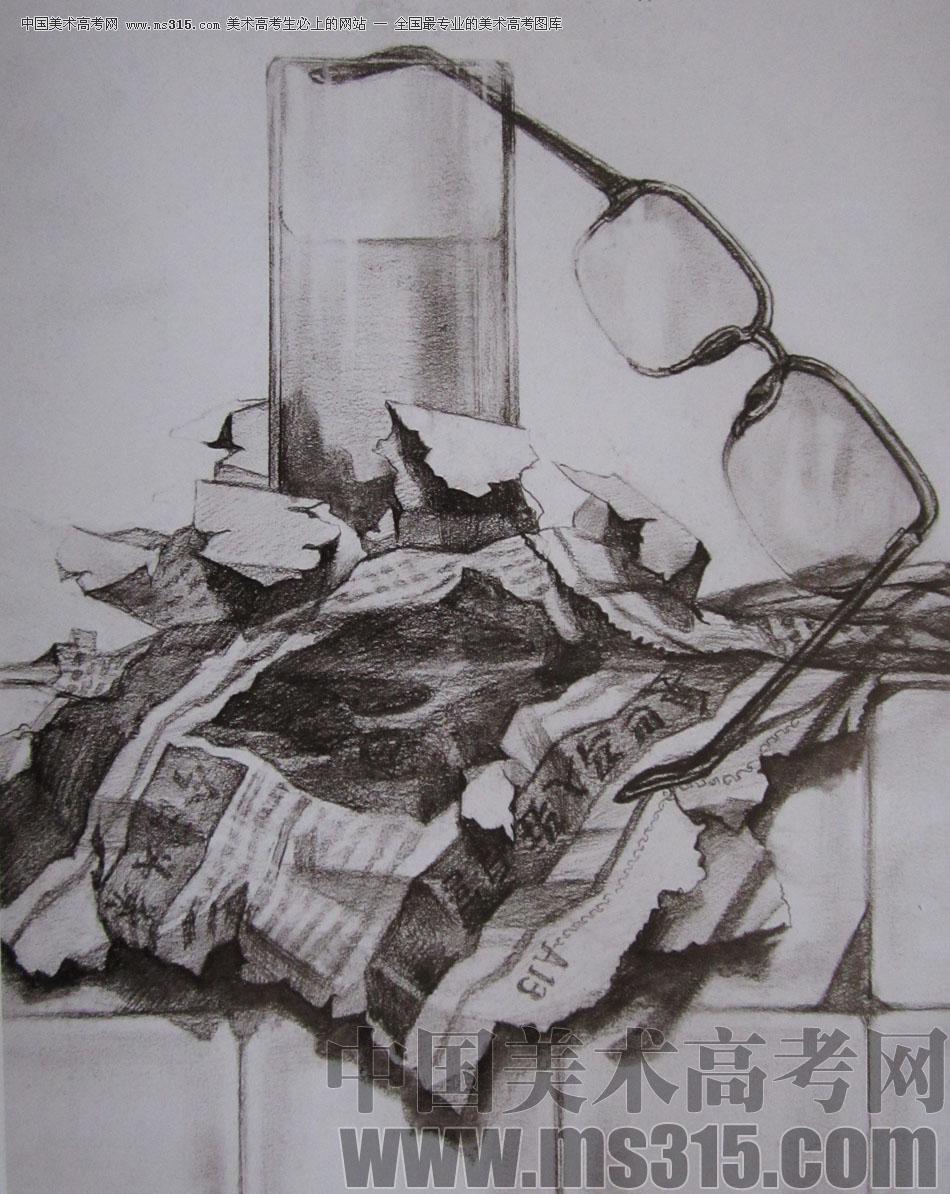 2009年清华大学美术学院素描高分试卷10(设计)
