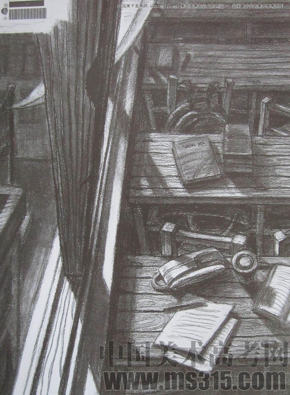 木头桌子素描画法