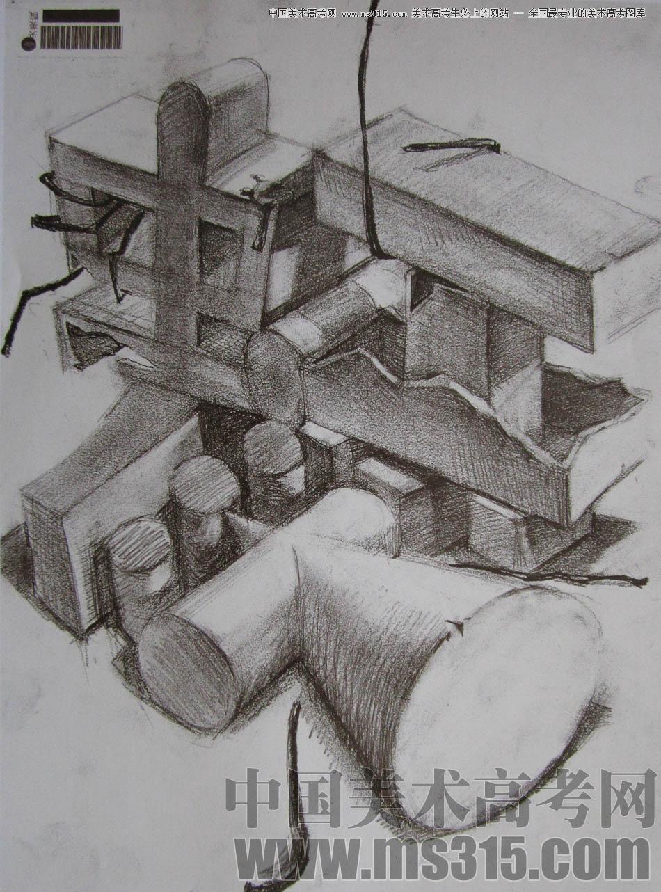 盒子结构素描图片