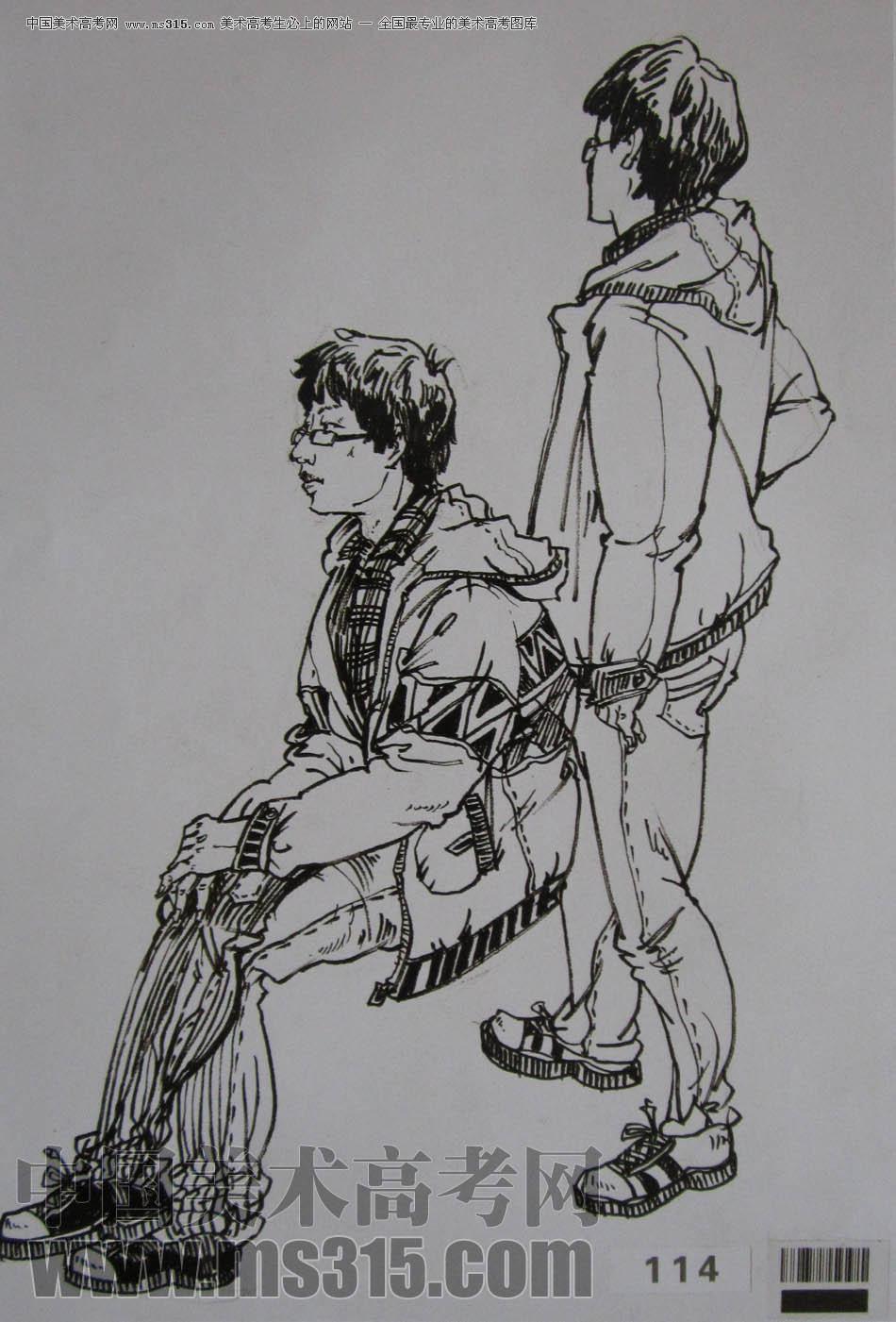 美术高考图库中心 2011年湖北美术学院速写优秀试卷 -> 作品欣赏