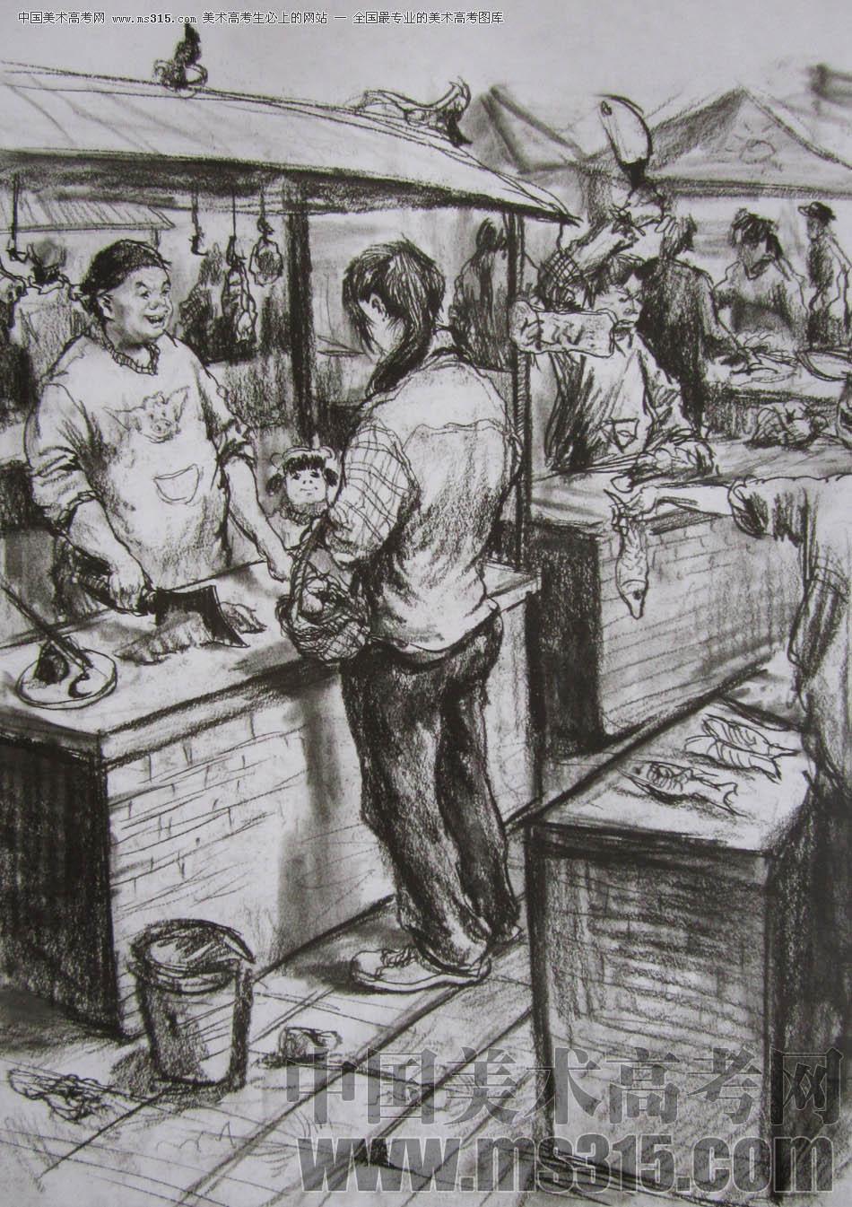 速写客厅一角加人物_菜市场一角三人速写,菜市场一角速写,菜市场三人场景速写_大 ...