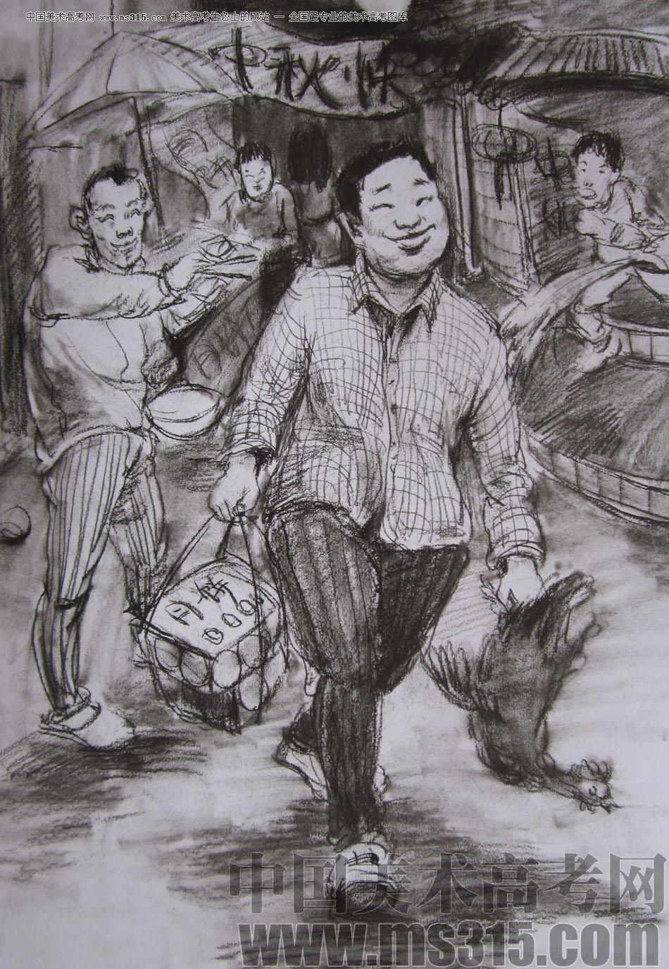 2012年清华大学美术学院速写高分试卷75(造型)