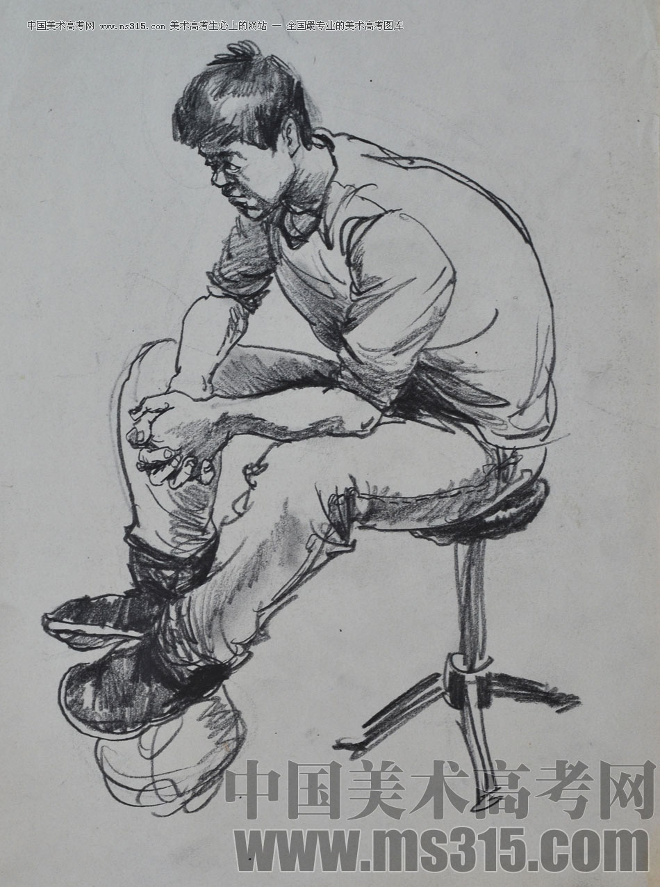 美术高考图库中心 辽宁省葫芦岛市张雷人物速写优秀投稿作品 -> 作品