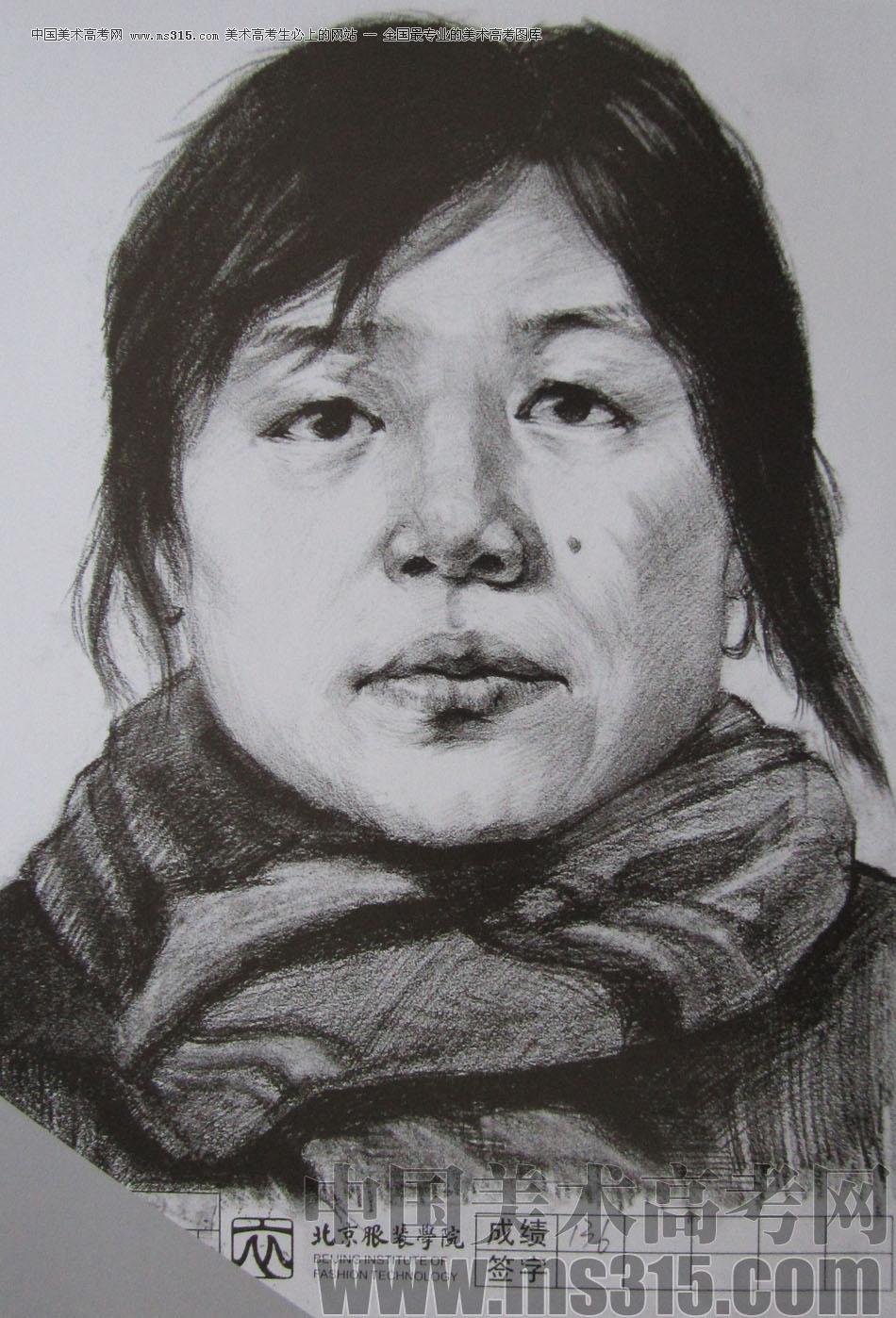 2012年北京服装学院素描人物头像中等卷49