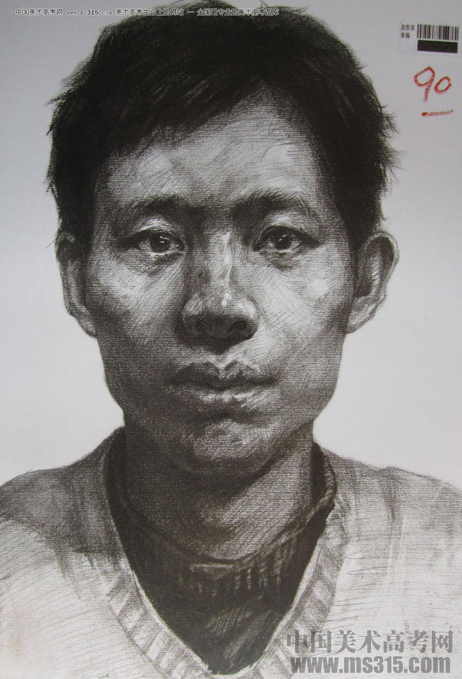 素描头像重庆高考高分卷图片