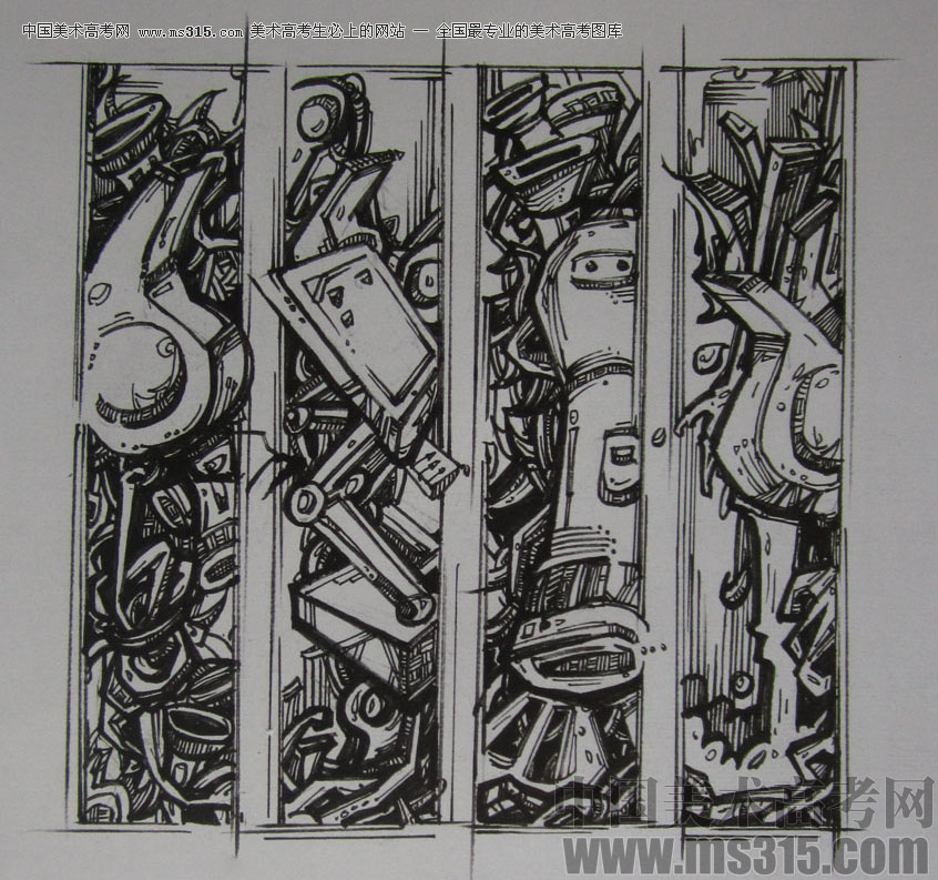 2015年四川美术学院设计基础(黑白装饰画)高分卷1图片
