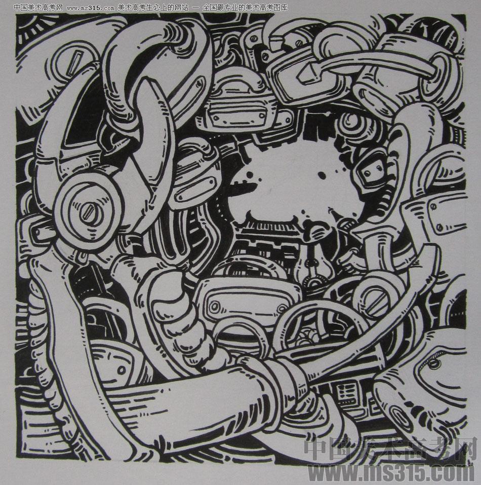 2015年四川美术学院设计基础(黑白装饰画)高分卷3