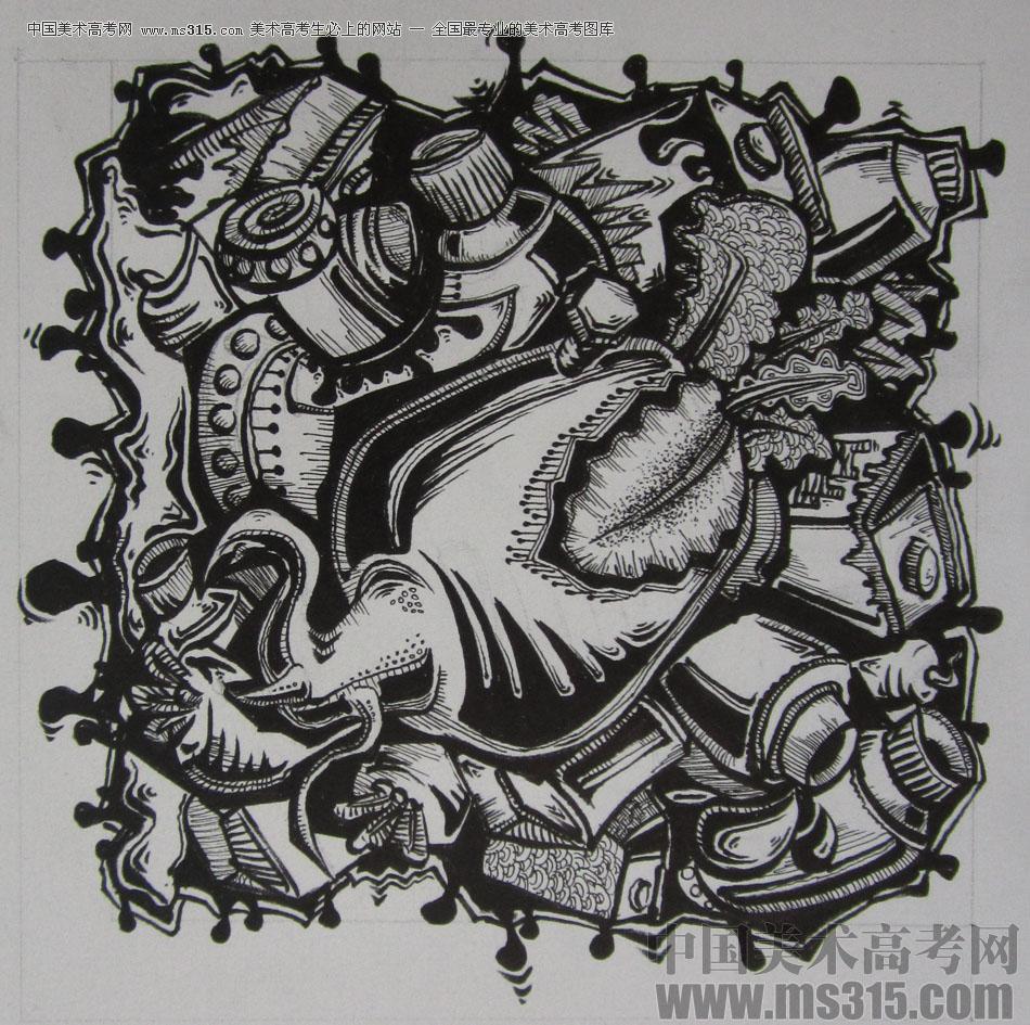 2015年四川美术学院设计基础(黑白装饰画)高分卷19图片