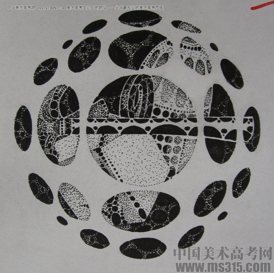 2015年四川美术学院设计基础(黑白装饰画)高分卷22图片