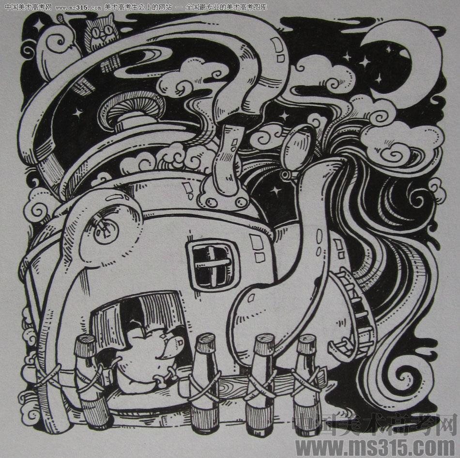 2015年四川美术学院设计基础(黑白装饰画)高分卷43图片