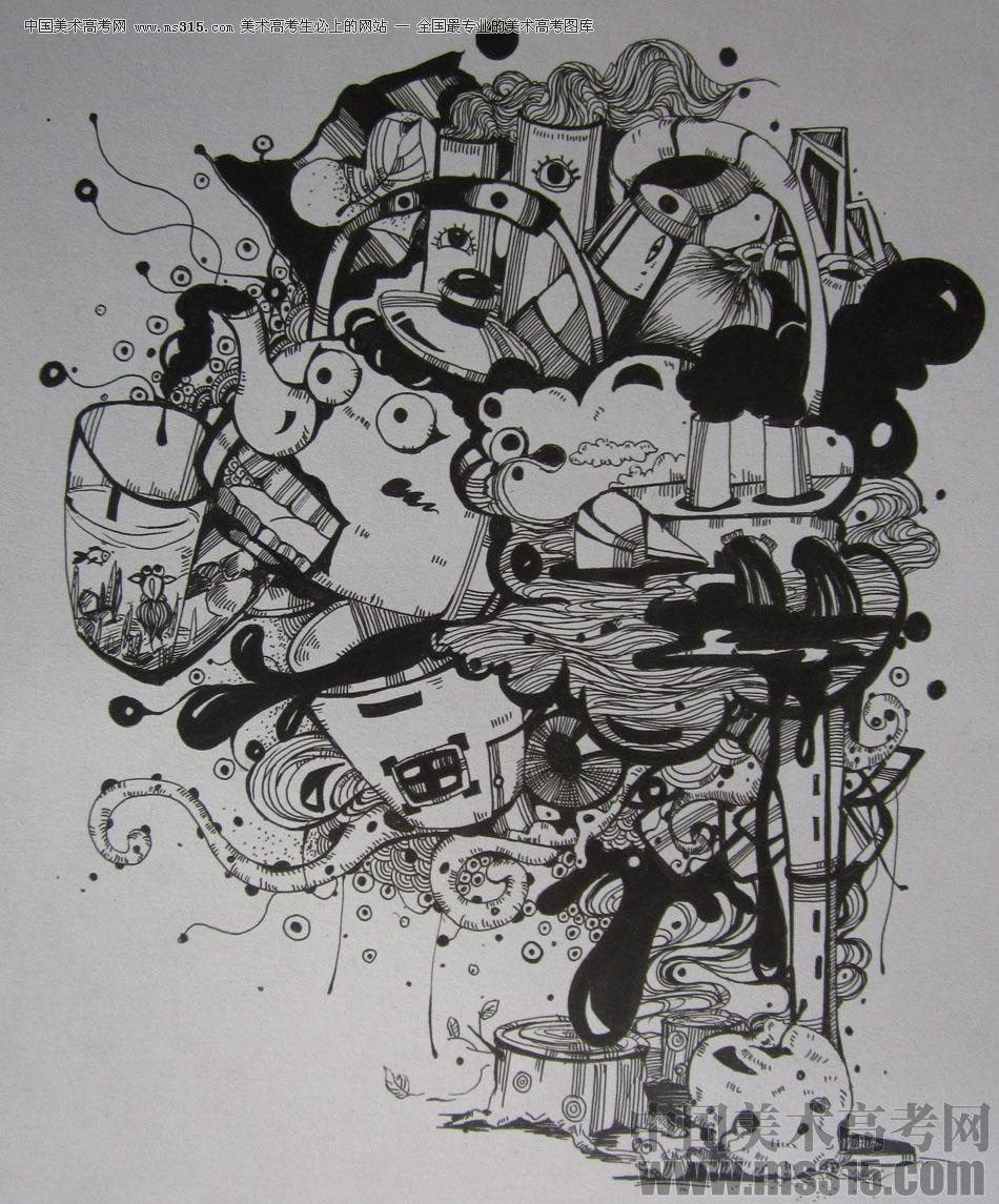 2015年四川美术学院设计基础(黑白装饰画)高分卷48