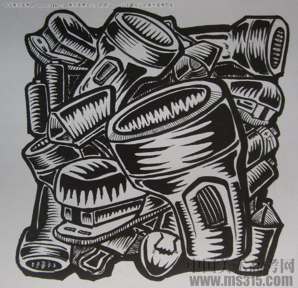 2015年四川美术学院设计基础(黑白装饰画)高分卷54图片