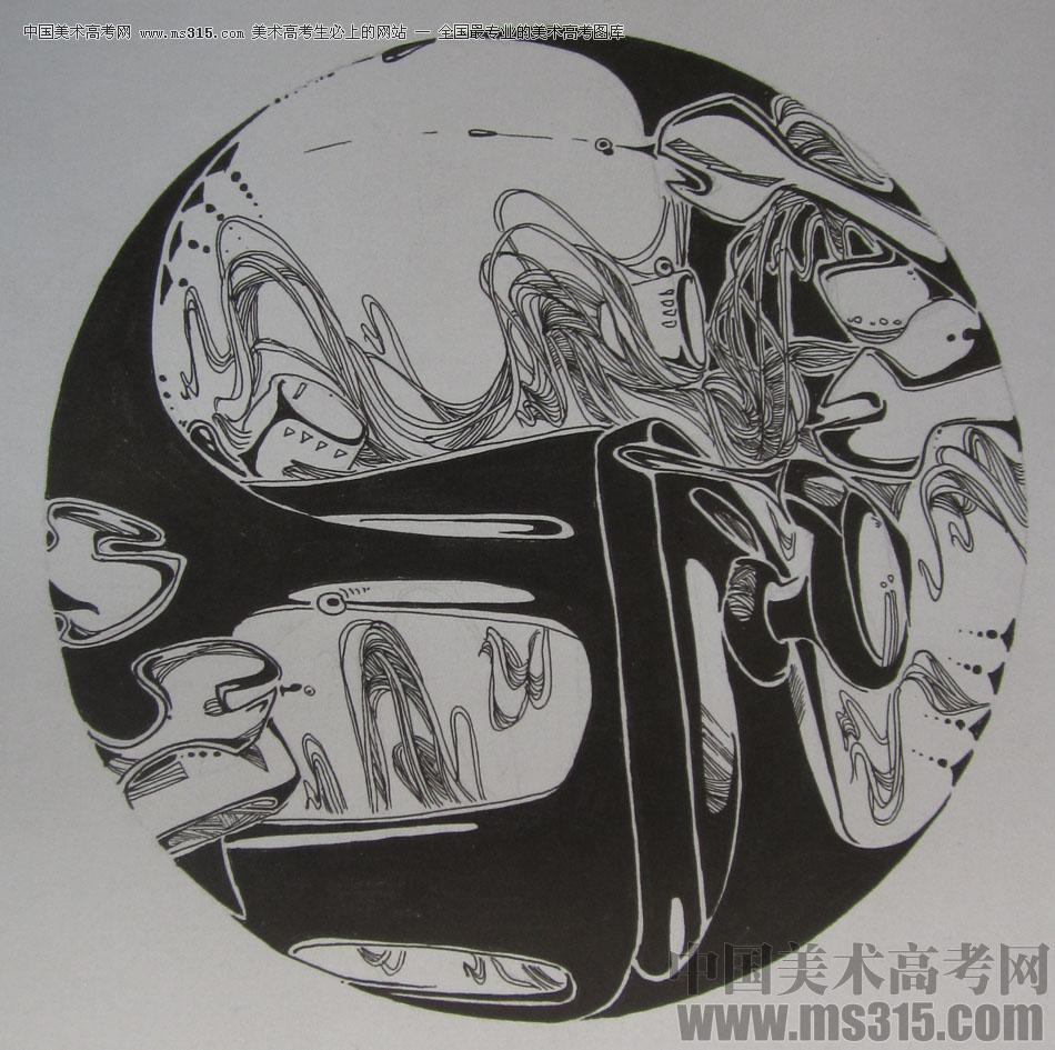 2015年四川美术学院设计基础(黑白装饰画)高分卷68图片