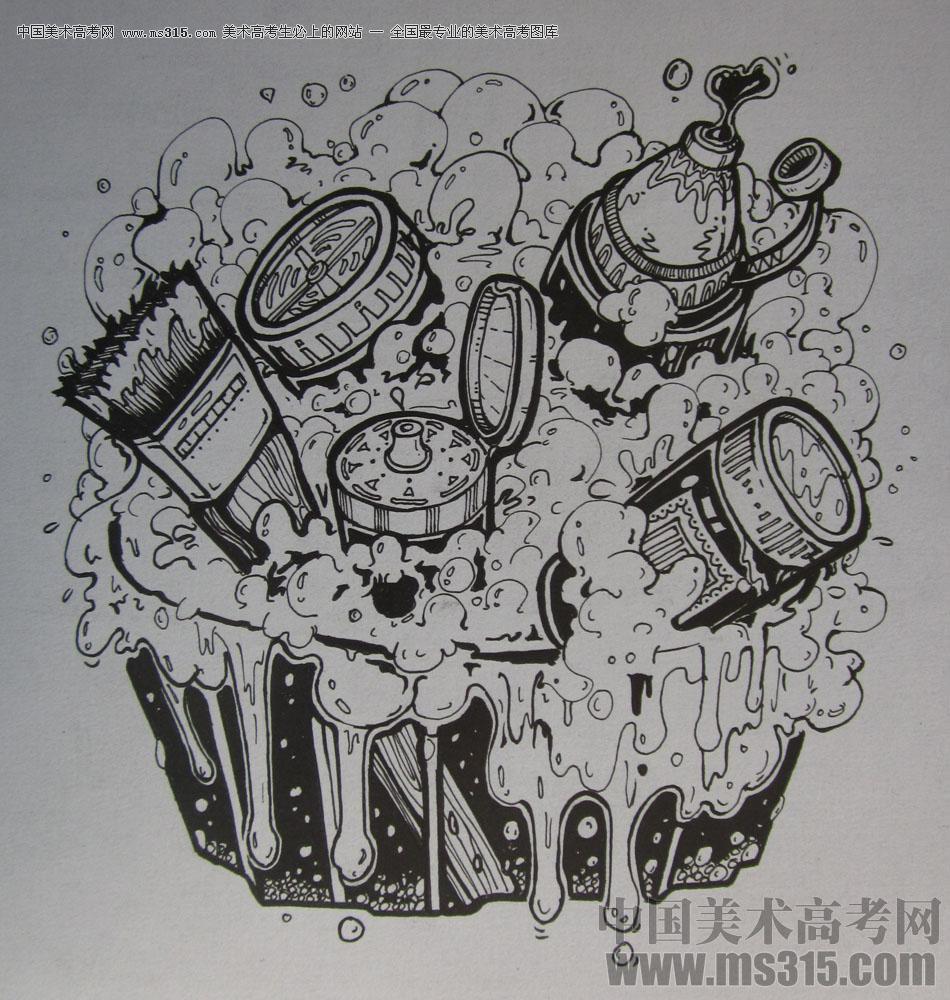 2015年四川美术学院设计基础(黑白装饰画)高分卷72