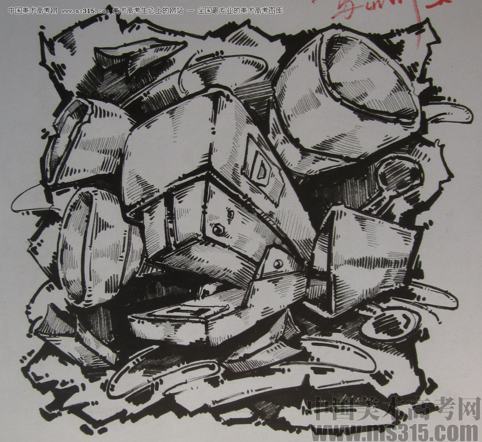 2015年四川美术学院设计基础(黑白装饰画)高分卷79图片