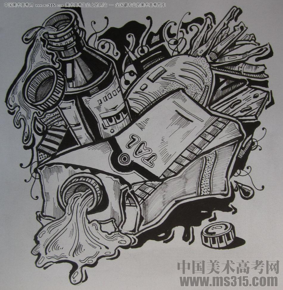 2015年四川美术学院设计基础(黑白装饰画)高分卷82图片