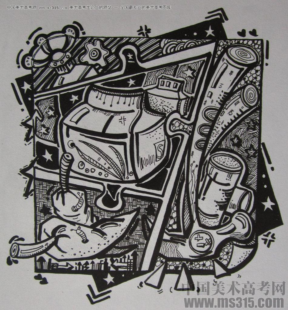 2015年四川美术学院设计基础(黑白装饰画)高分卷35图片
