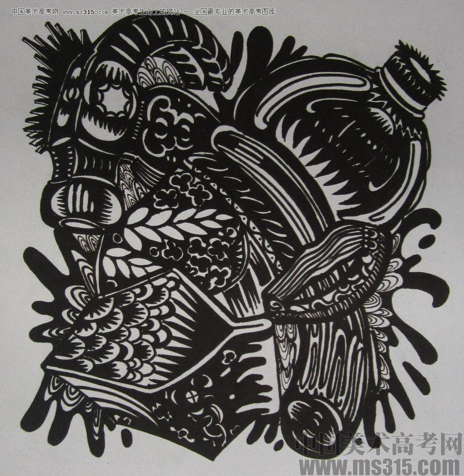 2015年四川美术学院设计基础(黑白装饰画)高分卷39图片