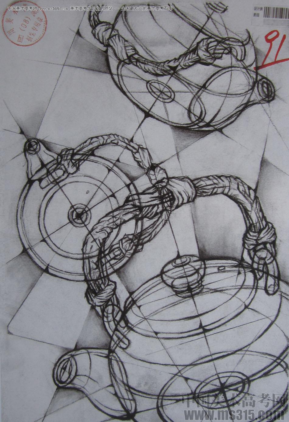 2015年四川美术学院设计素描高分卷3