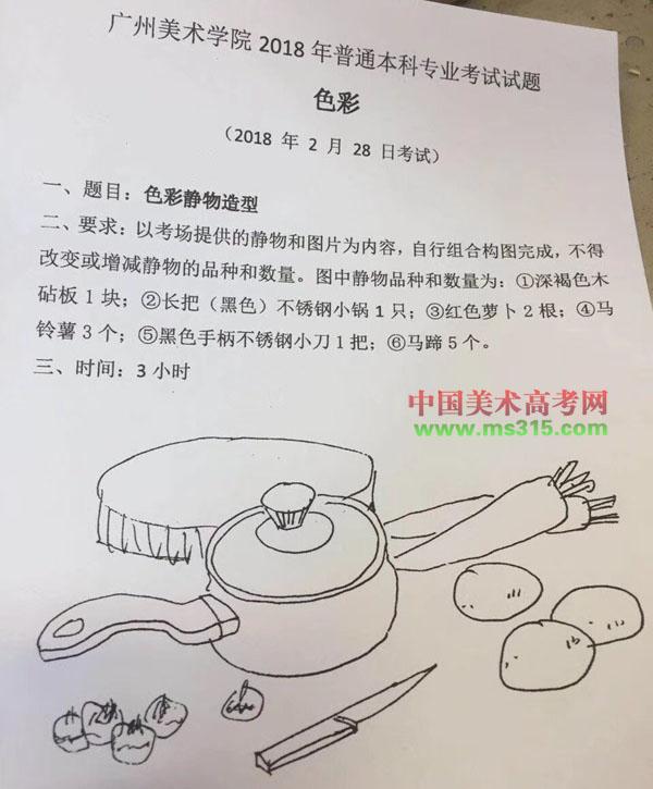 2018年广州美术学院美术考题(广东考点2月28日)图片